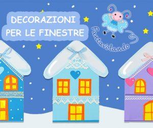 Lavoretti inverno: decorazioni per le finestre (le casette)
