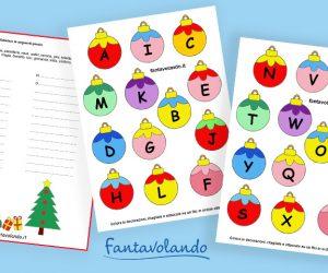 Schede di Natale: ripassiamo l'alfabeto