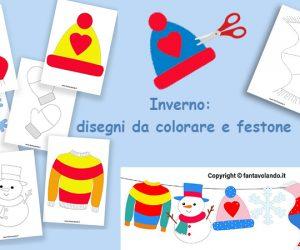 Inverno: Disegni da colorare e festone
