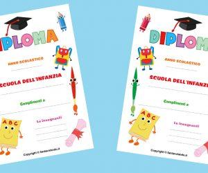 Diploma con zainetto e matite (per la scuola dell'infanzia)