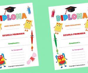 Diploma con zainetto e matite (per la scuola primaria)