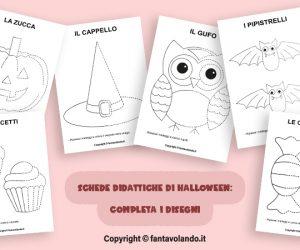 Schede didattiche Halloween: completa i disegni.