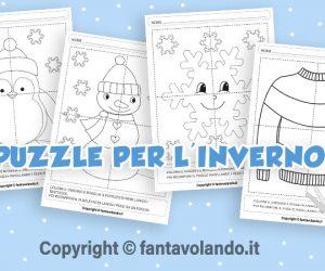 Schede didattiche per l'inverno: simpatici puzzle