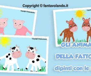 Gli animali della fattoria dipinti con le mani: la mucca, il maialino e il cavallo